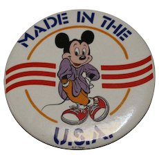 1986 Made In The U.S.A. Mickey Mouse Button Pin