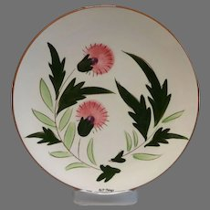 Stangl Pottery Pink Thistle Salad Plate Hand Carved Hand Painted