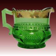 EAPG Green Harvard aka Columbia, Quixote Creamer by Tarentum Glass Company