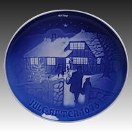 Bing & Grondahl 1973 Blue and White Christmas Plate 9073 Country Christmas Limited Edition