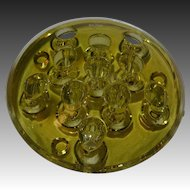 Vintage Uranium Yellow Glass 11 Slanted Hole Footed Flower Frog with Edge