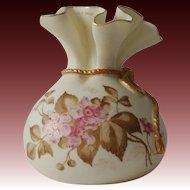 1888 Royal Worcester Porcelain Pink Floral Blush Ivory Sack Top Round Vase Gold Gild