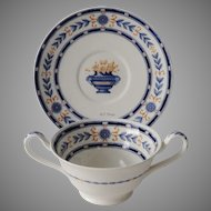 1897 The Etruria Blue Laurel Wedgwood English China Bullion Cup and Saucer