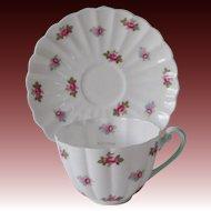 Shelley English China Rosebud 13426 Ludlow Shape Tea Cup & Saucer Mint Green Trim