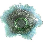 Jefferson Glass Company Many Loops Green Opalescent Ruffled Bowl