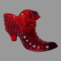 Fenton Ruby Red Hobnail Art Glass Cat Slipper Shoe #3995