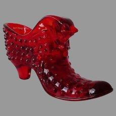 Fenton Ruby Red Hobnail Art Glass Cat Slipper Shoe #3995