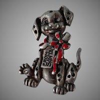 101 Dalmatians Dalmatian Puppy Red Enamel Bow Santa Tag Pewter Pin Brooch #48312
