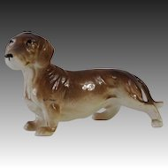 Lovely Ceramic Brown Dachshund Dog Figurine Japan Medium Size