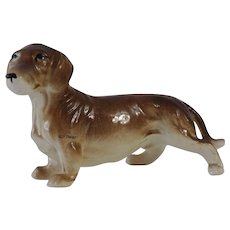 Lovely Ceramic Brown Dachshund Dog Figurine Japan Medium Size