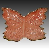 Embossed Butterfly Pottery Dish with Gold Gilt Edge Coral USA 130 C