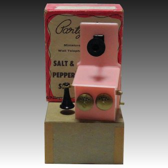 Pink Old Time Wall Phone Party Line Salt & Pepper Set with Original Box