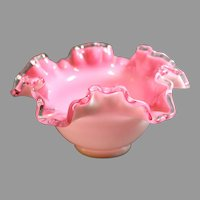 Fenton Art Glass Peach Crest Crimped Rim Bowl No. 203