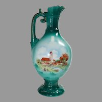 Czechoslovakian Green with Country Village and Church Decorated Ewer Pitcher