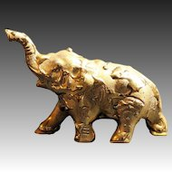Weeping Gold Miniature Elephant Figurine with Trunk Up