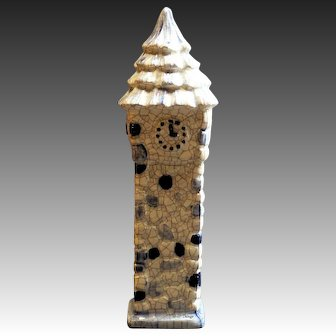 Potting Shed Pottery Clock Tower Blue & White Crackle Figurine 69T