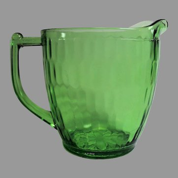 Jeannette Glass Company Green Hex Optic 32 ounce Pitcher with Sunflower Base