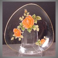 Chance Sovereign Rose Triangular Glass Dish with Gold Trim