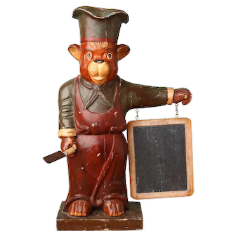 Carved Wood Chef Bear with Menue Board