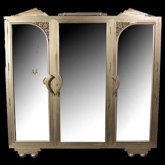 Art Deco Armoire, nickel steel & mirror Circa 1920