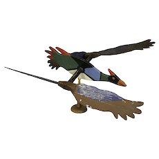 Whimsical Wooden  Kingfisher Whirligig,  New York State Folk Art