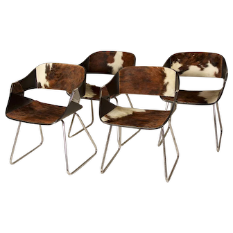 Vintage Cowhide Chairs, set of 4