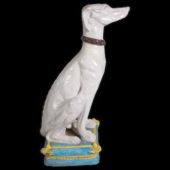 Lifesize Mid Century Terra Cotta Greyhound Statue