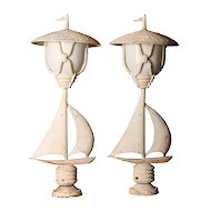 Pair of Vintage Cast Aluminum Pole Lights,