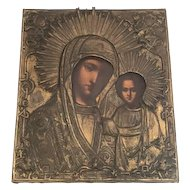 19th C. Russian Icon Madonna and Child Hand Painted on Board with Gilt Metal Oklad