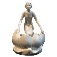Art Deco Pottery Nude Flower Frog West Germany c. 1940s FREE SHIPPING!