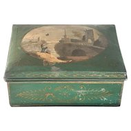 Antique Tole Hand Painted Maritime Trinket Box 19th Century France FREE SHIPPING!