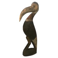 Antique Folk Art Hand Carved & Painted Wood Pelican Statue c. 1900