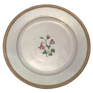18th C. Chinese Export Hand Painted Porcelain Plate Floral Scene with Flying Insects
