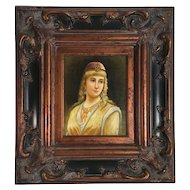 Oil on Canvas Portrait Painting by J. Rankin in Ornate Gesso Wood Frame