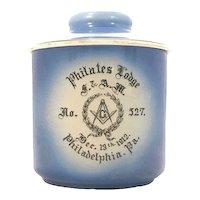 Thomas Maddock's Sons Co. Masonic Philates Lodge No. 527 Humidor Tobacco Jar c. 1912 Philadelphia, Pa. Rare. FREE SHIPPING!