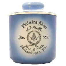 Thomas Maddock's Sons Co. Masonic Philates Lodge No. 527 Humidor Tobacco Jar c. 1912 Philadelphia, Pa. Rare. FREE SHIPPING!