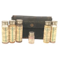Antique Apothecary Traveling Doctor's Kit Medical Bottles & Leather Holder A. L. Marsteller, M. D.