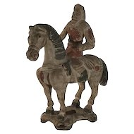 Tang Style Polychrome Painted Model Wood Horse & Rider c. 1900s