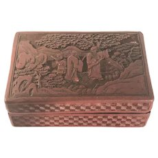 Chinese Carved Cinnabar Lacquer Box Late 19th to Early 20th Century