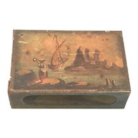 Antique Tole Toleware Match Safe Match Holder Hand Painted Seascape Scene FREE SHIPPING!