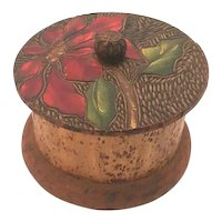 Art Nouveau Pyrography Flemish Eucalyptus Trinket Box with Hand Painted Floral Design c. 1905