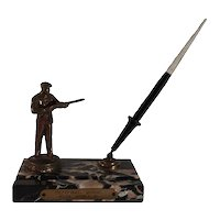 Art Deco Spelter Gunman Award Marble Stand with Esterbrook Ink Pen