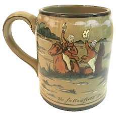 Buffalo Pottery Deldare Ware Mug titled The Fallowfield Hunt artist signed c.1908 FREE SHIPPING!!!!