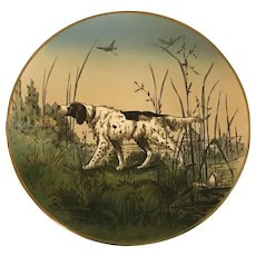 Villeroy & Boch Mettlach Spaniel Hunting Scene Wall Plaque c. 1874-1909