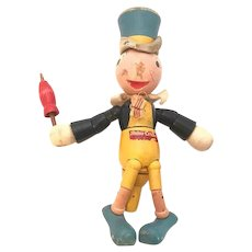 Ideal Novelty & Toy Company Jiminy Cricket Walt Disney Wood Jointed Figural Toy c. 1940s FREE SHIPPING