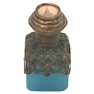 19th C. Opaline Blue Grand Tour Scent Perfume Bottle FREE SHIPPING