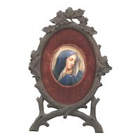 19th C. Black Forest Miniature Portrait Painting on Porcelain of Madonna in Carved Acorn Branch Frame W. Schaus New York