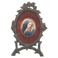 19th C. Miniature Porcelain Portrait Painting of Madonna in Black Forest Carved Acorn Branch Frame W. Schaus New York