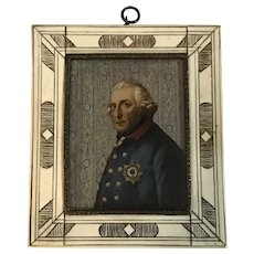 "Antique Miniature Portrait Painting ""Frederick the Great"" Scrimshaw Bone Frame mid 19th C."