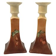 Bernardaud & Co. B&C Limoges Hand Painted Cherry Candlestick Holders Pair